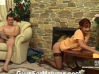 Heated aged housewife going after sturdy guy instead of her daily chores
