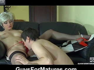 Red sexy ancient chick gets fun from directing a guy